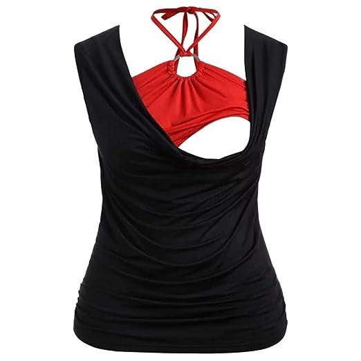 3e7dfdb9722e Amazon.com: Veodhekai Halter Neck Tops Women Maternity Blouse Sleeveless  Patchwork Ruffled Breastfeeding Top Clothes Nursing Shirts: Clothing