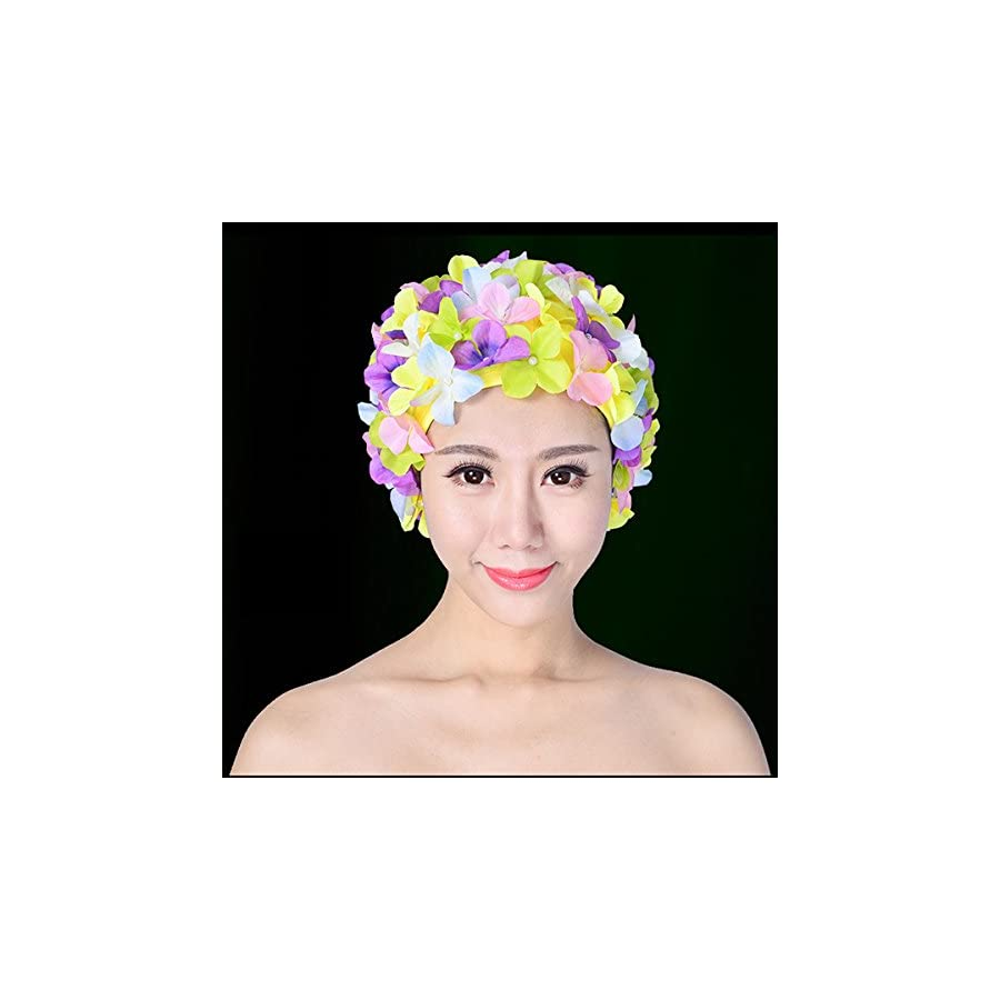 Swim Cap Swimming Hat Tinksky Floral Petal Stylish Bathing Caps Size L gift for Women (Colorful)