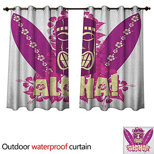 Tiki Bar Outdoor Curtain for Patio Tiki Culture Figure Surfboards Hibiscus Hand Drawn Aloha Art W72 x L63(183cm x 160cm)