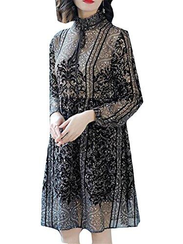Jaycargogo Manches Longues Col Femmes Robe De Mousseline Imprimée De Loisirs 1
