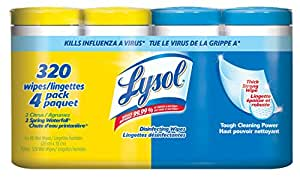 Lysol Disinfecting Surface Wipes, XL Pack (4x80 Count), Citrus/Spring Waterfall, 320 Count