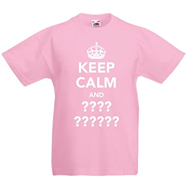 ce6d6241d Kids custom-made Keep calm and carry on customisable T-shirt: Amazon.co.uk:  Clothing