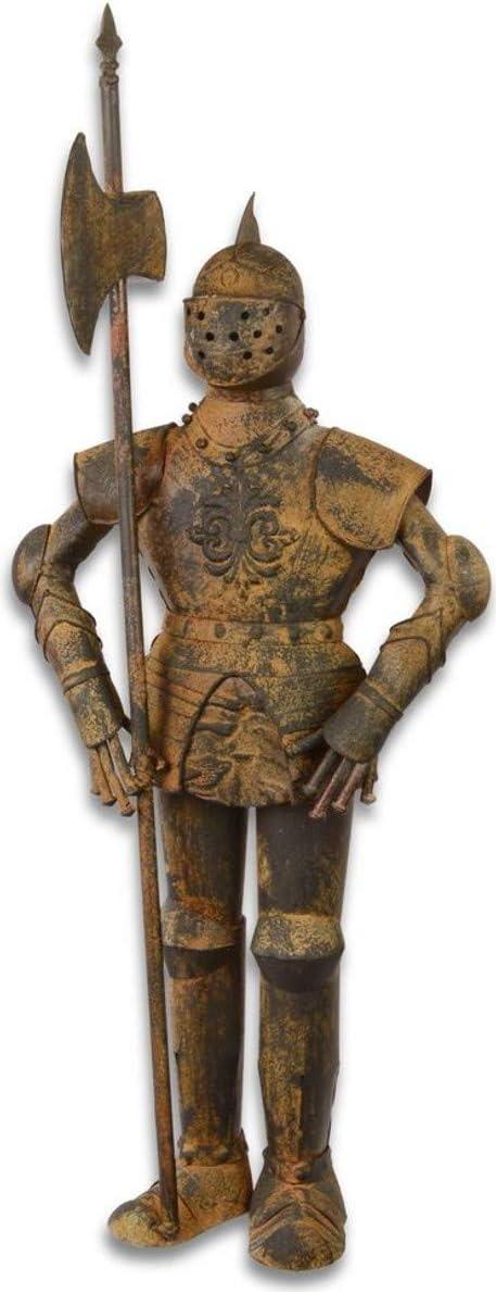 Casa Padrino Armadura Caballero Medieval con Lanza marrón Antiguo H. 92 cm - Armadura de Hierro Decorativa en óptica de Herrumbre