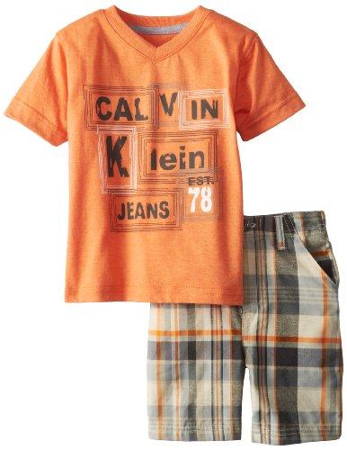 Calvin Klein Boys 2-7 V-Neck Tee with Plaided Short-Toddler