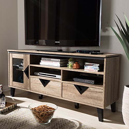 - TV Stand in Light Brown Finish