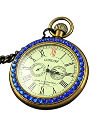 VIGOROSO Men's Copper Blue Crystal 2 Sub-Dial Noble Luxury Antique 1856 Mechanical Pocket Watch