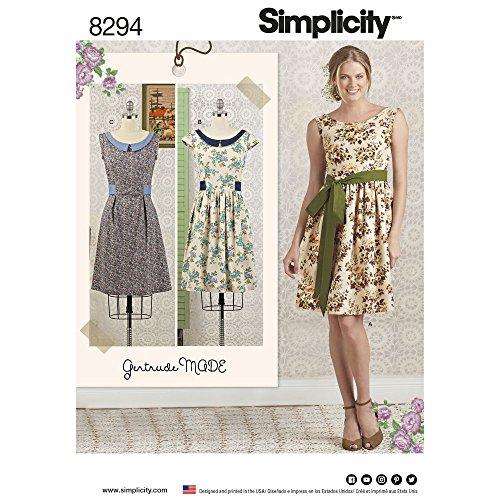Simplicity Sewing Pattern D0630 / 8294 - Misses'/Petite Dress and Sash, H5 (6-8-10-12-14) (Petite/8 Pack)
