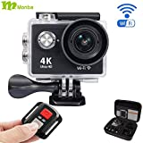 Monba ME10 4K Sports Action Camera waterproof wifi camcorder 12MP 170 Ultra Wide Angle- 2x1050mAh Batteries portable package Accessory Set and Wireless Remote control