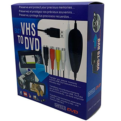 VHS VCR TV To Digital DVD Converter for Mac OS X PC Computer iPad iPhone Windows 7 8 10, Record Video Transfer from VCR, VHS Tapes, AV, RCA, Hi8, Camcorder, DVD, Gaming Systems
