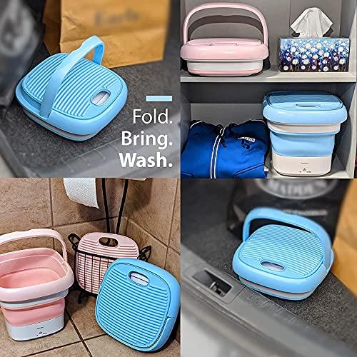 Deoxys Portable Washing Machine, Mini Foldable Washing Machine with Handle,Ozone Sterilization,Ultrasonic Cleaning Machine, Small Automatic Underwear Folding Washing Machine Laundry Capacity 51YrXriSweS India 2021
