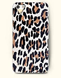 Phone Case For iPhone 5 5S Black And Brown Leopard Pattern In White Background - Hard Back Plastic Case / Animal...