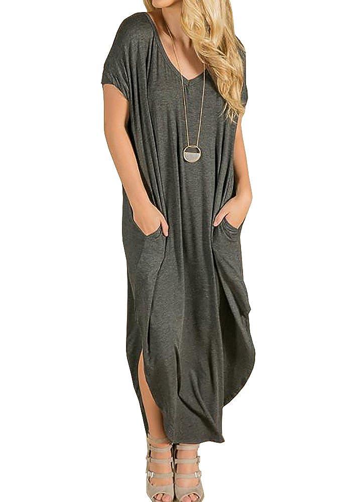 Charcoal Ivay Women's Casual Short Sleeve TShirt Long Maxi Dress with Pockets