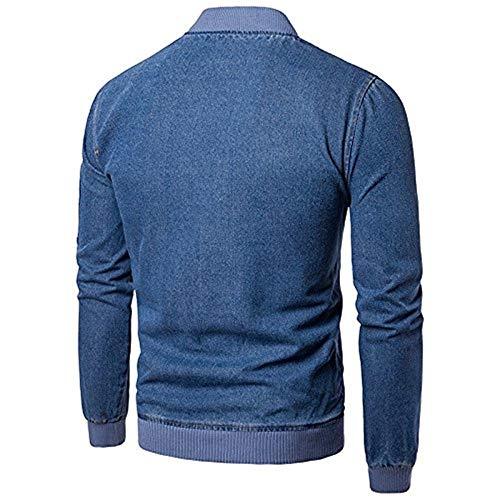 Manica Tasche Lunga Uomo Jeans Comodo Con In E Blau Denim Colletto Di Battercake Cerniera Da Giacche A Laterali Hqw4c6A