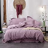 Merryfeel 100% Linen Duvet Cover Set - Full/Queen - Mauve