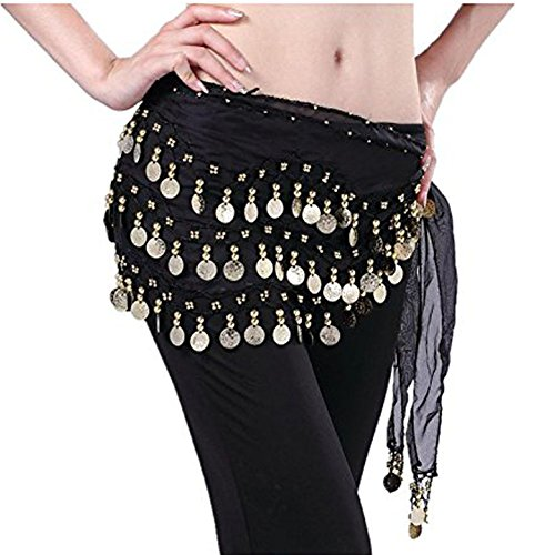 Women Chiffon Dangling 3 Rows Gold Coins Hip Scarf Wrap Belt for Belly Dancing (Black)