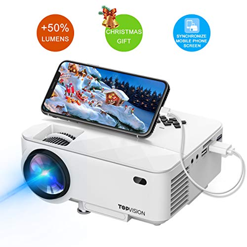 - Mini Projector, T TOPVISION Projector with Synchronize Smart Phone Screen +50% Lumens, Supported 1080P, 176