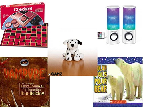 "Children's Gift Bundle - Ages 6-12 [5 Piece] - Checkers Folding Board Game - Merkury HUE Universal Dancing-LED Speakers - Webkinz Dalmatian Plush 6"" - Vampyre: The Terrifying Lost Journal of Dr. Cor -  Secure-Order-Marketplace, Ent., dbund-6-12-4399"