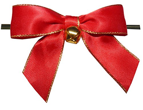 Red with Gold Trim Twist Tie Bows with Bell- 25pc