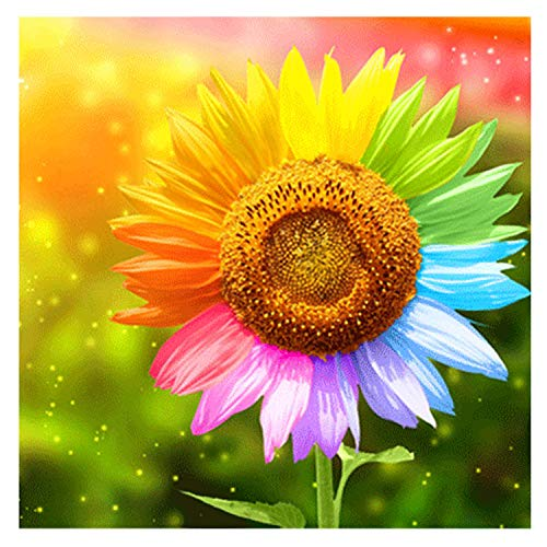 eGoodn Diamond Painting Art Kit DIY Cross Stitch by Number Kit DIY Arts Craft Wall Decor, Full Drill 15.8 by 15.8, Colorful Sunflower, No Frame