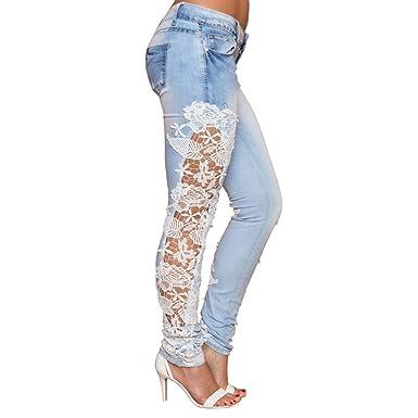 9197303c1c6f Ansenesna Hose Damen Jeans Stretch Skinny, Spitze Lang Elegant Denim ...