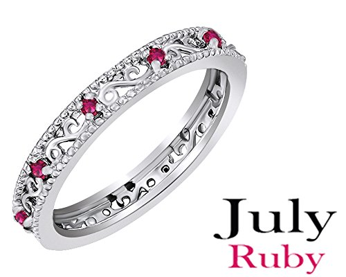 Jewel Zone US Mothers Day Jewelry Gifts Round Cut Simulated Red Ruby Stackable Ring in 14K White Gold Over Sterling Silver