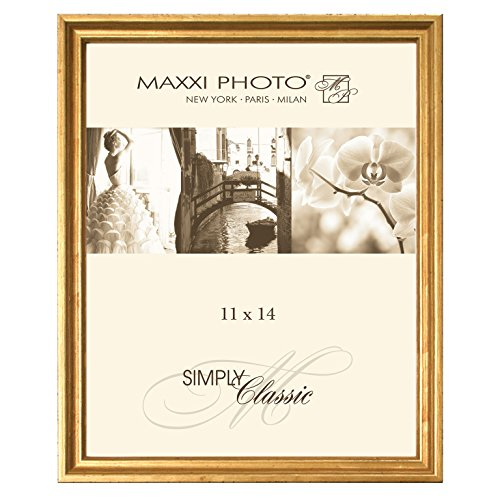 Maxxi Designs Gallery Frame with Sawtooth Hanger, 11 x 14, Antique Gold Leaf Hampton Classics