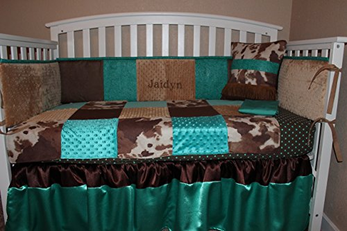 Turquoise and Brown Cowhide Western Embossed 6 Piece Crib Bedding Set (Baby Cowhide Crib Set)