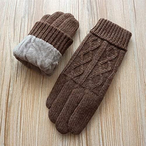 手袋 日常 実用 メンズウールグローブダブルレイヤープラスベルベット太いタッチスクリーン屋外暖かい手袋 (Color : Brown, Size : One size)