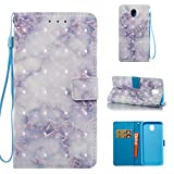 Cover Galaxy J7 2017 Marble Book Light Blue, Misteem Colorful Fantasy Marble Pattern Soft Leather Credit Card Holder Wallet Shockproof Case Protective Shell for Samsung Galaxy J7 2017 J730