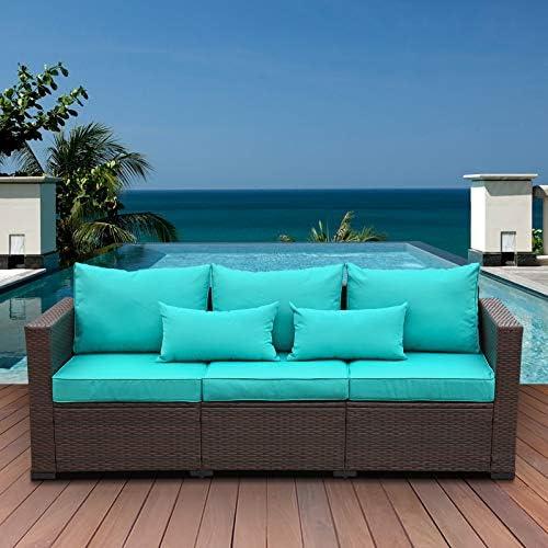 3-Seat Patio PE Wicker Couch Furniture Outdoor Brown Rattan Sofa