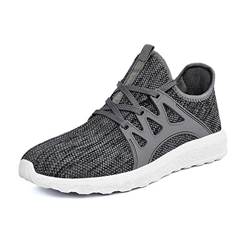 Mxson Mens Casual Sneakers Ultra Lightweight Breathable Mesh Sport Walking Running Shoes  Grey White  12 D M  Us