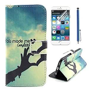 Fashionable Finger Love Heart Design PU Leather Full Body Cover with Protective Film and Stylus for iPhone 6 Cases, iphone 6 Covers