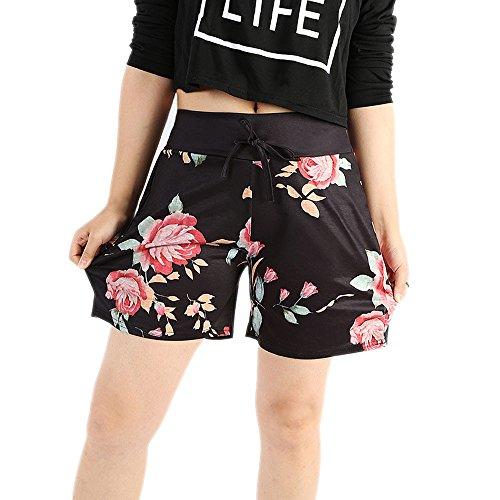 FarJing Clearance sale Women Summer Casual Floral Prints Drawstring Shorts Pants (XL,Black)