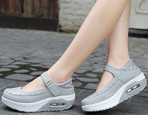 Odema Fitness Womens Mesh Breathe Mary Jane Sneakers Walking Shoes Mesh Gray CKXpf5