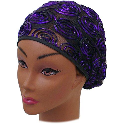 SSK Beautiful Metallic Turban-style Head Wrap (Purple Rosettes)