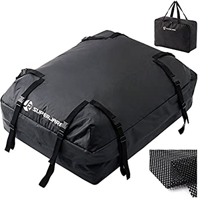 SUPERJARE Cargo Bag with Protective Mat, Car Top Carrier for Roof Racks, Waterproof Luggage Travel Storage, Extra Storage Bag, 15 Cubic Feet - Black