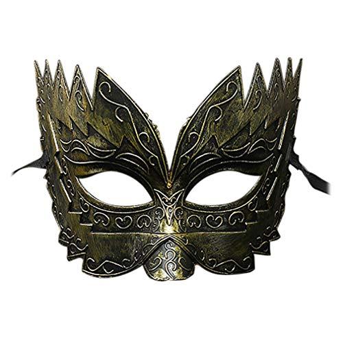 (liyhh Beauty Masquerade Eye Mask Fancy Party Roman Gladiator Masked Ball Halloween Costume Gold)
