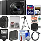 Panasonic Lumix DMC-ZS100 4K Wi-Fi Digital Camera (Black) with 64GB Card + Case + Flash + Battery + Tripod + Kit