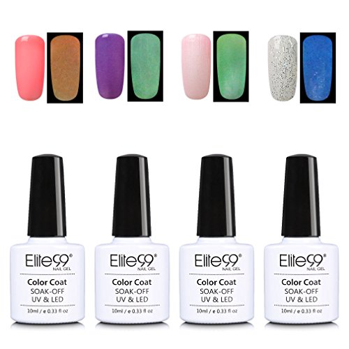 Elite99 Glow in The Dark Gel Nail Polish Set Soak Off UV LED Nail Lacquers Fluorescent Varnish Manicure Nail Art Decoration 10ML - The Good Glow In Dark Paint