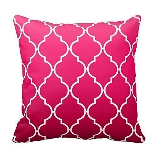 CaseWorkShop Quatrefoil Ombre Geometric Fuschia Decorative Home Decor Square Indoor/Outdoor Pillowcase Cotton Throw Pillow Cover Case 18 In (Cases Fuschia Pillow)