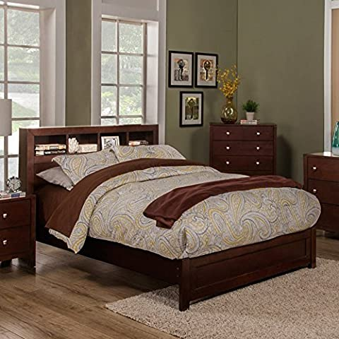 Platform Bed with Bookcase Headboard (Queen: 89 in. L x 63 in. W x 46 in. H) - Cappuccino Finish Birch Veneer