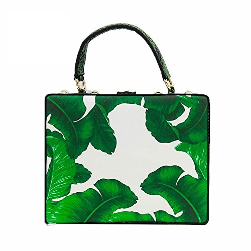 package banana bag TuTu box printed diagonal bag green Personality leaf handbag insect diamond E6wZzqw