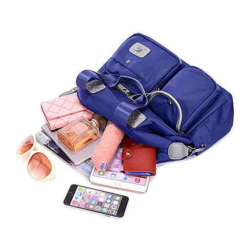 Ligero bolsa Grandes azul Bolsillos Azul Nylon Oscuro Multibolsillo Playa Mujer Bandolera Con Hombro Bolsa Bolso De Viaje Para Bebé Impermeable 71Xzn