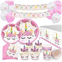 96CT Unicorn Party Supplies, Serves 16 Birthday Party Favors Decorations for Kids Girls, Cupcake Toppers Wrappers, Plates Cups Napkins, Balloons Banners Tablecloth