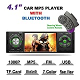 LSLYA 4.1inch HD Single DIN Bluetooth Car Stereo Audio Radio FM Receiver 1080P Video Player MP3/USB/SD/TF/AUX/FM
