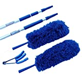 Extension Rod & Blue Extension Duster 2 Complete Sets, Extend 18-20 feet Cleaning High Ceilings, Cathedral Ceilings, Ceiling Fans, Micro Fiber Duster, Cobweb Duster