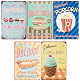 Juvale Vintage Tin Signs - 5-Piece Retro Style Metal Signs As Wall Decor, Decorative Diner Coffee Bar Kitchen Sign, Food and Snacks Theme, 11.8 x 7.8 Inches