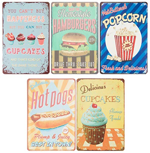 Juvale Vintage Tin Signs - 5-Piece Retro Style Metal Signs As Wall Decor, Decorative Diner Coffee Bar Kitchen Sign, Food and Snacks Theme, 11.8 x 7.8 -