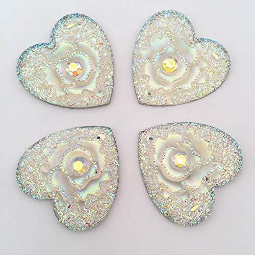 DIY 4pcs AB Resin Heart Rose Rhinestone Flatback Jewelry Design Bead 2 Hole D832