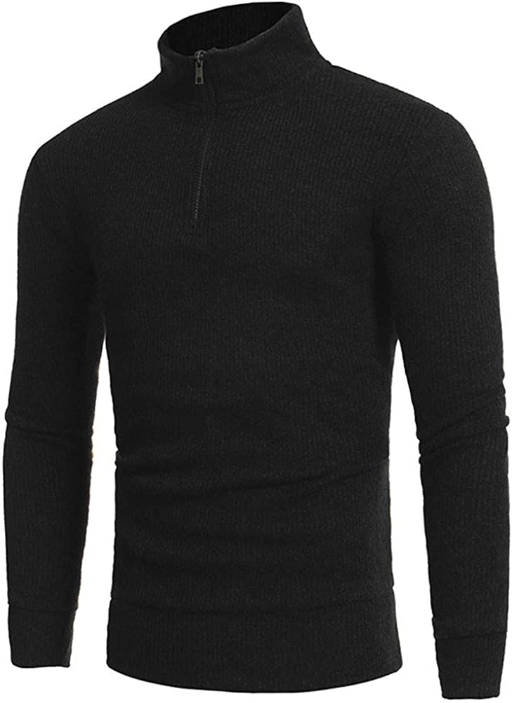 ASOBIMONO Mens Casual 1//4 Zip Turtleneck Sweaters Slim Fit Ribbed Knit Pullover Sweatshirt